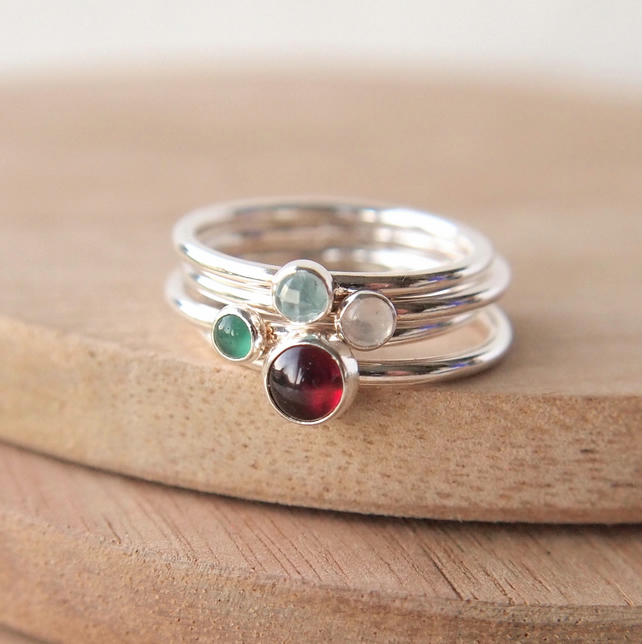 Create Your Own Birthstone Ring Set with Four Gemstones