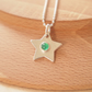 May Birthstone Star Necklace - Sterling Silver and Green Agate