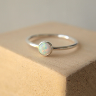 White Lab Opal and Silver Gemstone Ring