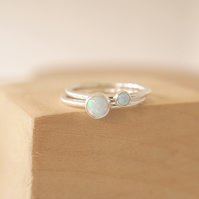 Lab Opal Double Ring Set