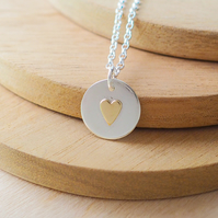 Simple Silver Circle Pendant with Heart