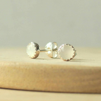 Simple Moonstone and Silver Stud Earrings