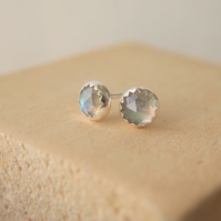Labradorite and Silver Stud Earrings