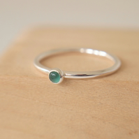 Green Agate Small Gemstone Ring - 3mm cabochon and Sterling Silver