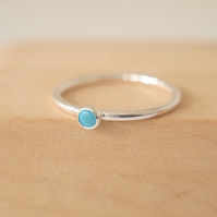 Turquoise and Silver Gemstone Ring - 3mm Cabochon and Sterling Silver