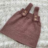 Baby pinafore dress hand knitted newborn size