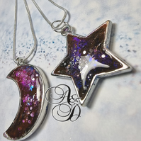 Galaxy star pendant druzy necklace, purples pinks, blue and sparkles