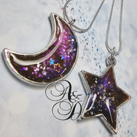 Galaxy moon pendant druzy necklace, purples pinks, blue and sparkles
