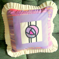 Cushion - Lilac and Cream Patchwork