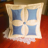 Cushion Quilted in Cream and Blue Silk - Cathedral Window