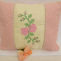 Cushions - Pink Embroidered Flower Cushion.