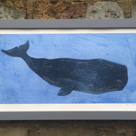 Grey Whale Monoprint in Frame