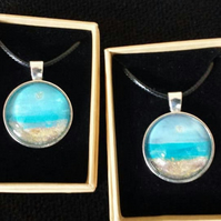Hand painted, unique pendants (beach scene)