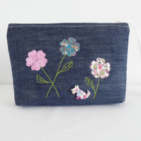 Denim multi use zip pouch, with embroidery & appliqué flower design