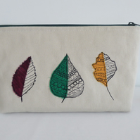 """Leaves"" - Large size multi use zip bag - cosmetics, sewing, project bag"