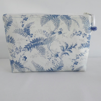 """Blue Fern"" - Medium size multi use bag - cosmetics, sewing, projects, travel"