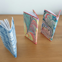 Mini Notebooks with fabric slip covers - marbled, indigo blue dyed