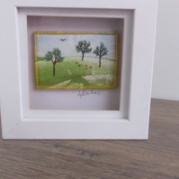 'MINIATURE EMBROIDERED LANDSCAPE' - Framed
