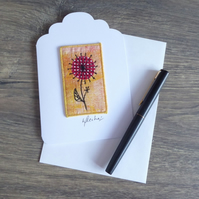 'FLORAL' - Textile, free motion embroidery card