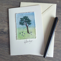 'THE LONE TREE' - Free motion embroidery card