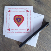 'HAPPY HEART' -  Free motion embroidery card