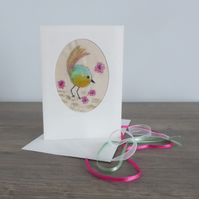 'SMELLING THE FLOWERS' - Free motion embroidery card