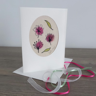 'FALLING FLOWERS & LEAVES' - Free motion embroidery card