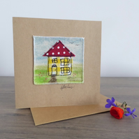 'HOME' - Textile card, new home, house warming