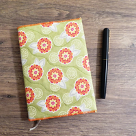SALE - DIARY - A6 SIZE WITH VIBRANT FABRIC SLIP COVER - FREE POSTAGE