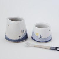 Ceramic creamer and sugar jam pot set with bees and cow parsley