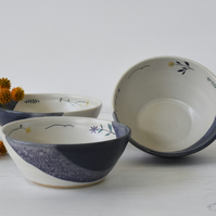 Ceramic blue and white bowl with flower rim for cereal, soup, salad and dessert