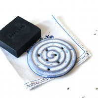 Blue ceramic soapdish handmade of speckled clay with optional luxury soap