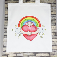 Rainbow Hug Tote Bag - Eco Friendly Tote Bag - Shopping Bag - Craft Bag