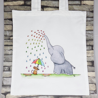 Rainbow Rain Ellie Tote Bag - Eco Friendly Tote Bag - Shopping Bag - Craft Bag