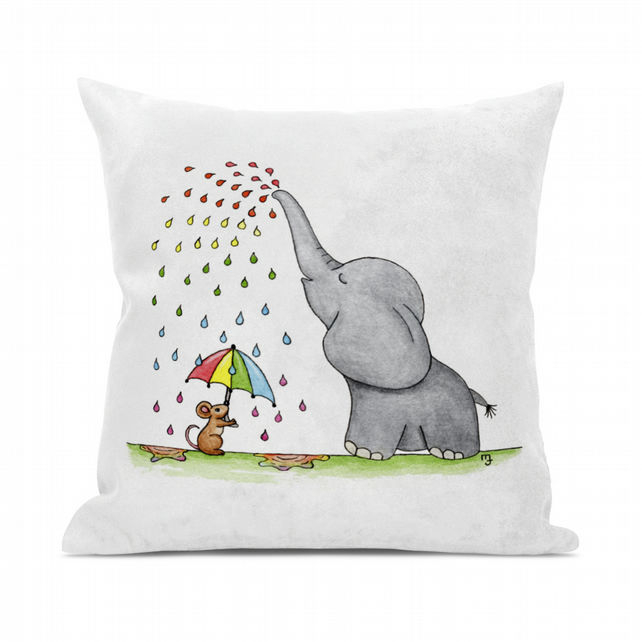 Rainbow Rain Ellie Cushion Cover - Soft Rainbow Rain Ellie Cushion