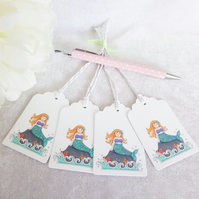 Mermaid Gift Tags - set of 4 tags