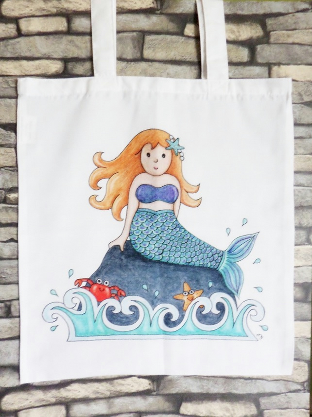 Mermaid Tote Bag - Eco Friendly Tote Bag - Shopping Bag - Craft Bag