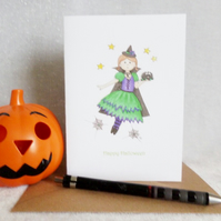 Happy Halloween Little Witch Card