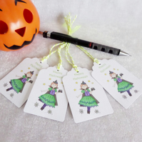 Halloween Little Witch Gift Tags - set of 4 tags