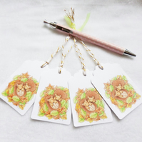 Sleeping Hedgehogs Gift Tags - set of 4 tags