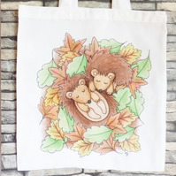 Sleeping Hedgehogs Tote Bag - Eco Friendly - Shopping Bag - Craft Bag