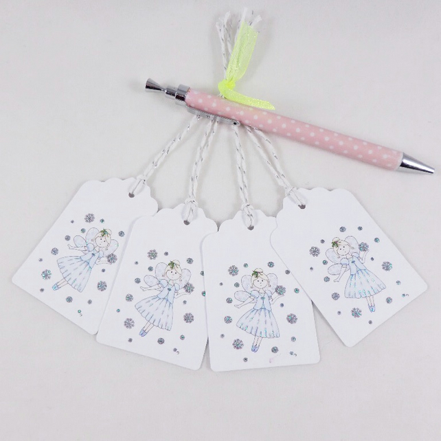 Christmas Fairy Gift Tags - set of 4 tags