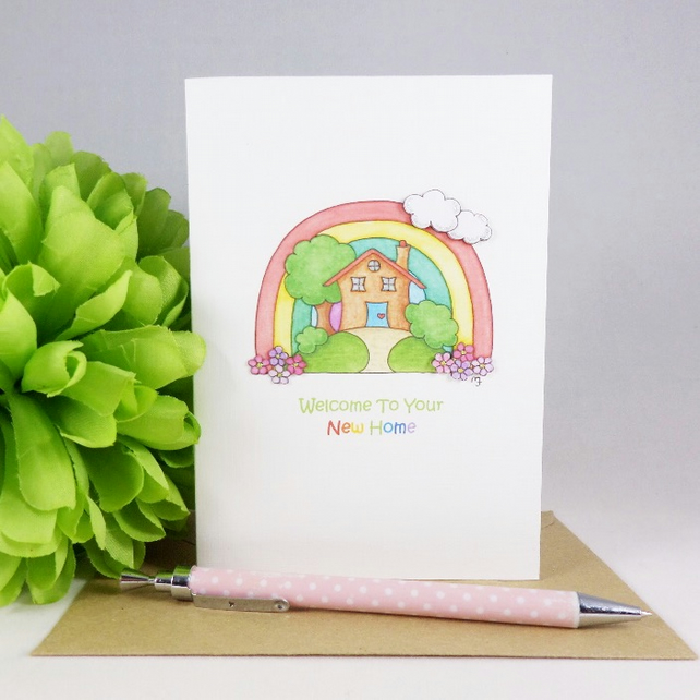 Rainbow New Home Card - Little House