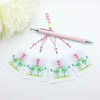 Green Love Birds Gift Tags - set of 4 tags