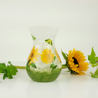Straw Silk Sunflower Vase, Sunflower Glass Vase, Small Floral Glass Vase