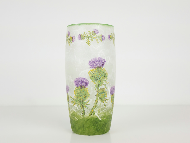Thistle Glass Vase, Straw Silk Vase with Thistle Design