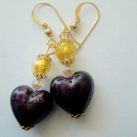 Purple and gold Murano glass earrings with Swarovski and gold filled wires.