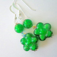 Green Murano glass earrings with Swarovski and sterling silver..