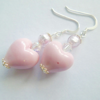 Pink and silver Murano glass heart earrings with Swarovski and sterling silver.
