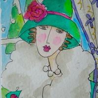 ACEO original little watercolour painting - A chill in the air.